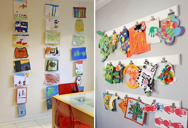 com exposar els dibuixos dels nens a casa