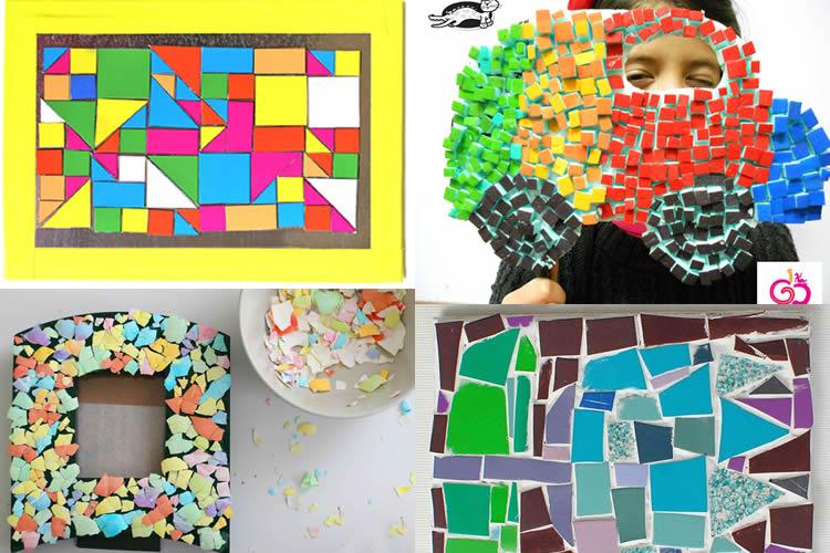 8 mosaics amb materials diversos