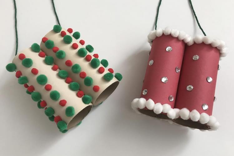 Manualitats de Nadal amb tubs de cartró binocles pare noel