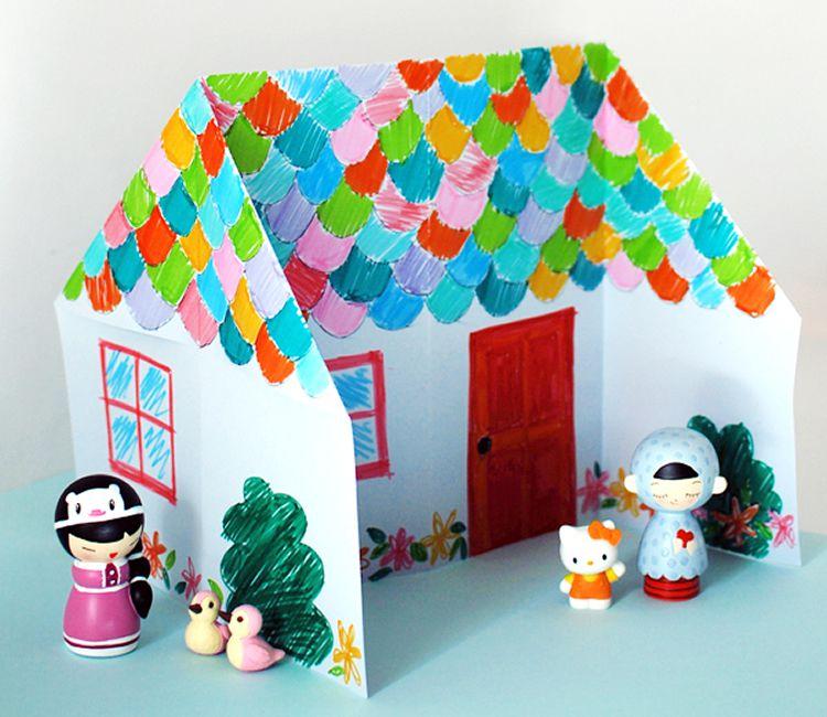 Origami casa de paper per decorar i jugar totnens for How to make house with paper folding