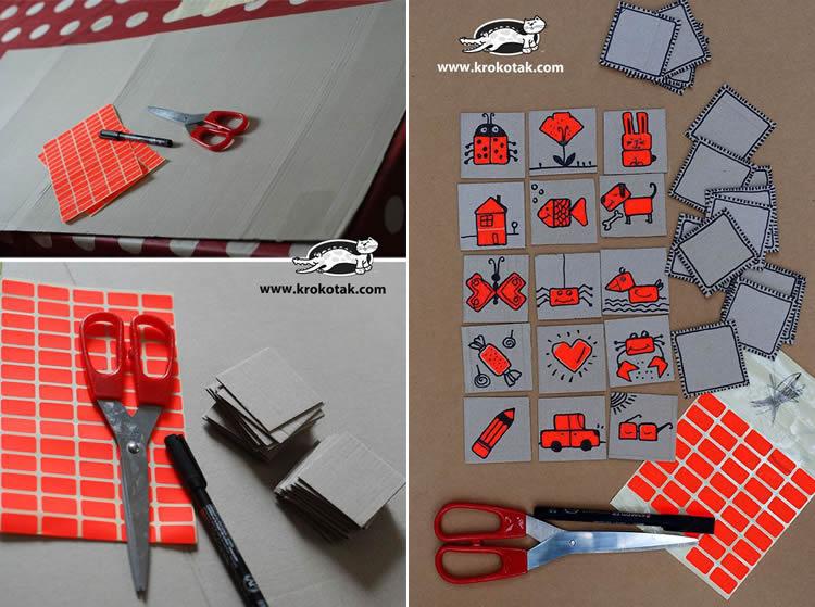 Joc memory personalitzat amb cartró i etiquetes adhesives