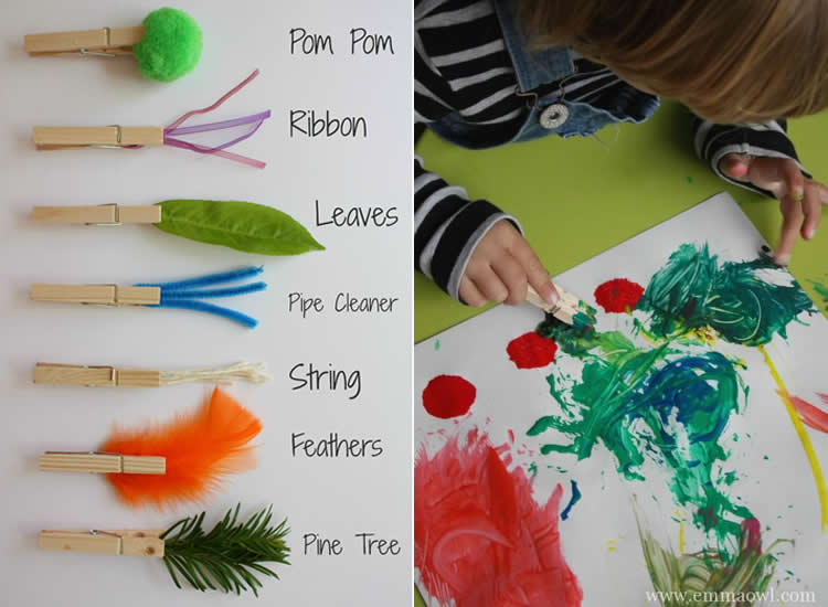 Pintura creativa amb pinzells d'agulles d'estendre