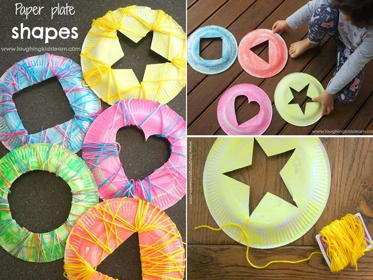 Manualitats per teixir amb plats de plàstic per a nens