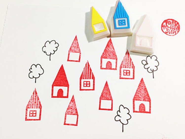 Segells d'estampació amb gomes per fer amb nens