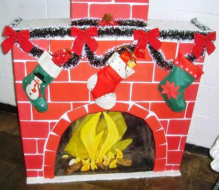 Xemeneia de Nadal de cartró per fer amb nens
