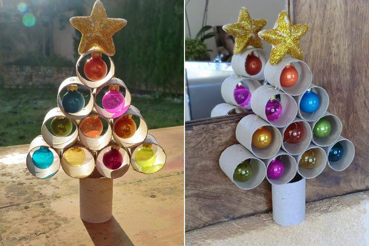 Arbres de Nadal fets amb tubs de cartró