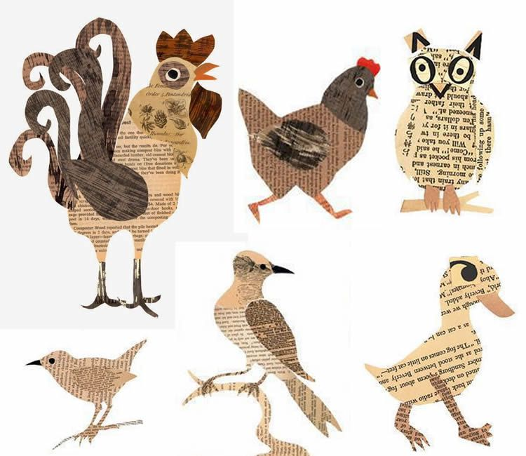 Collage d'animals amb paper de diari