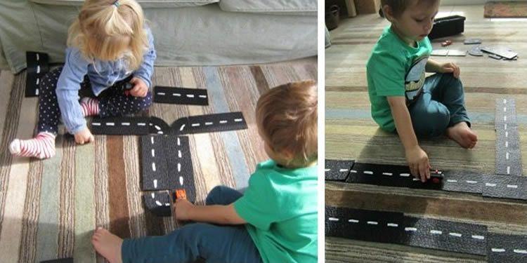 Com fer un circuit de cotxes amb una catifa de goma negre