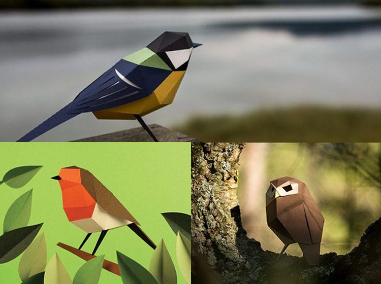 Plego, ocells de paper per plegar i enganxar