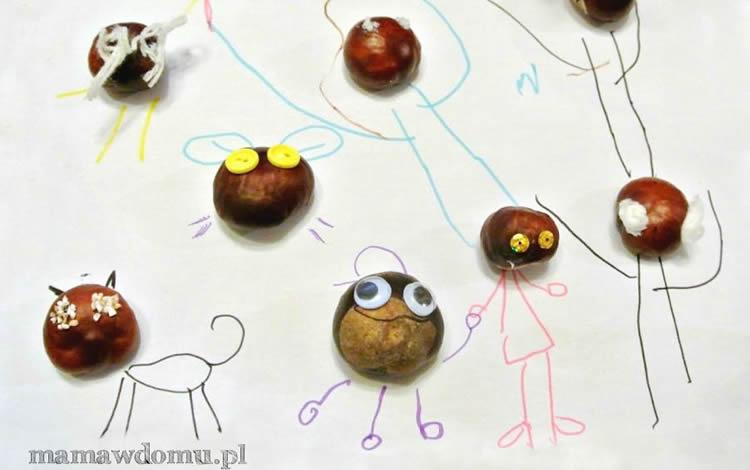 Personatges i animals fets amb castanyes dibuixem