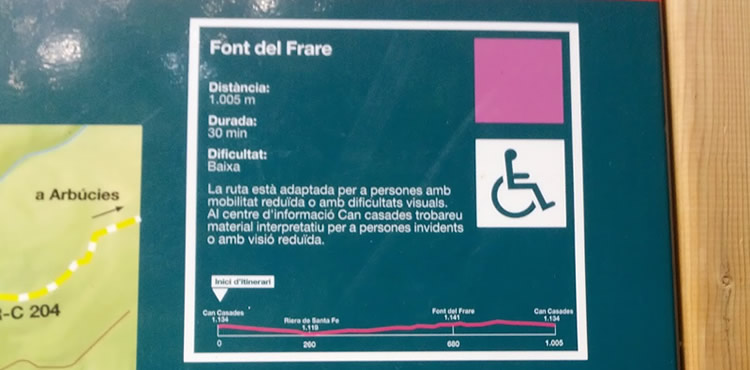 Itinerari adaptat a lla Font del Frare al Montseny