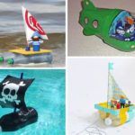 vaixells amb ampolles de plastic que suren
