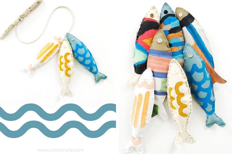 com pintar i cosir peixos de colors
