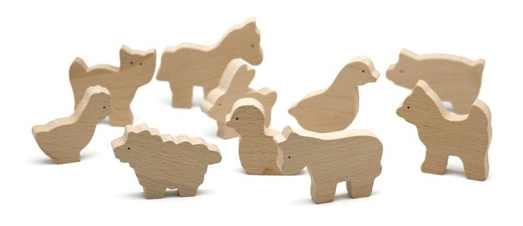 animals de fusta de granja per pintar