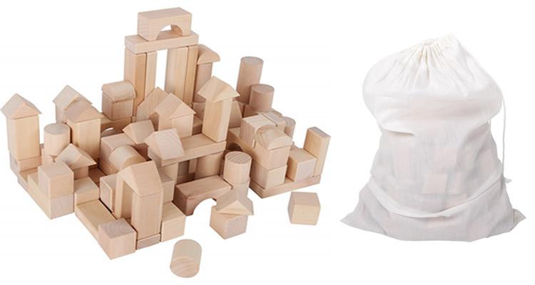 blocs de fusta natural amb bossa