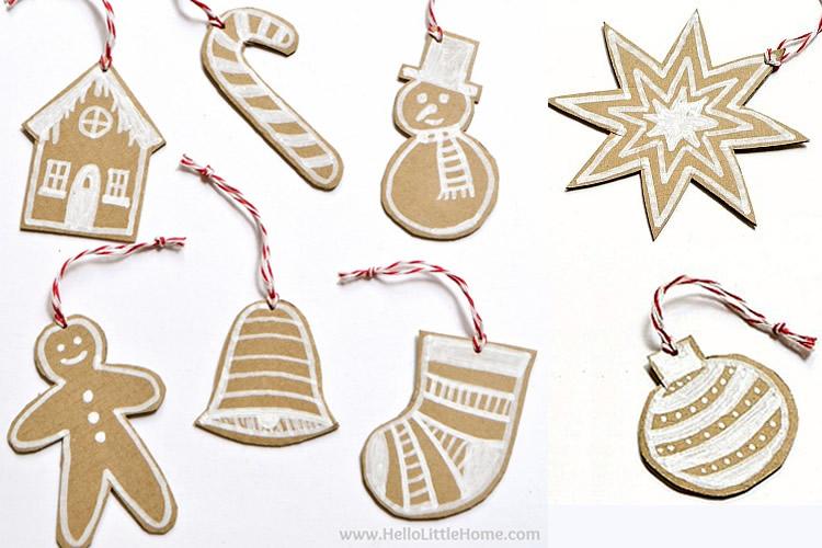 siluetes de cartró decorades per l'arbre de Nadal