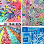 8 quadres pintats amb tècniques diferents 00