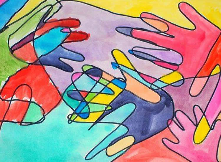 8 quadres pintats amb tècniques diferents 01