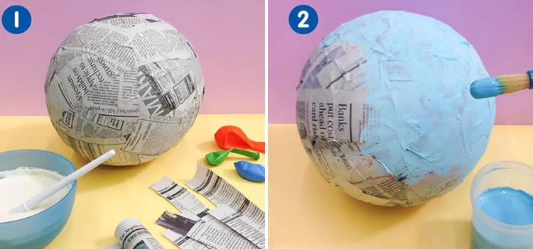 com fer un globus terraqüi amb paper maixé