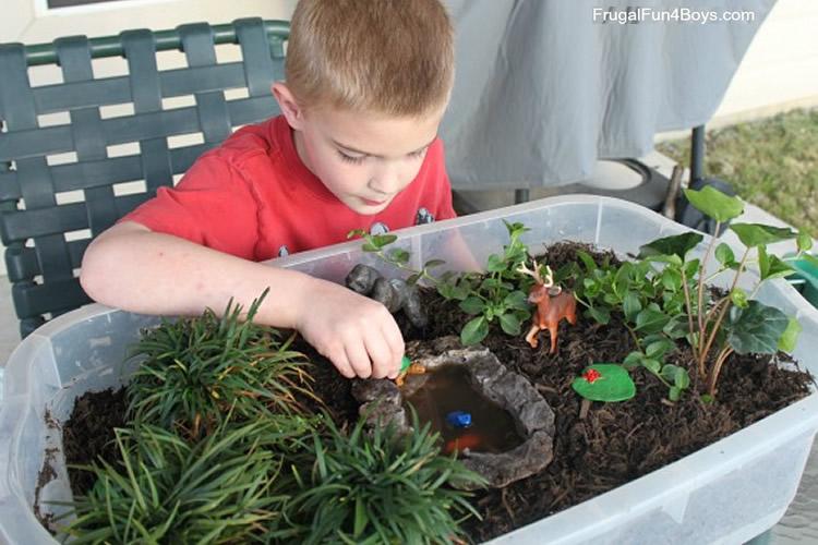 com fer un jardí en un contenidor de plàstic per jugar