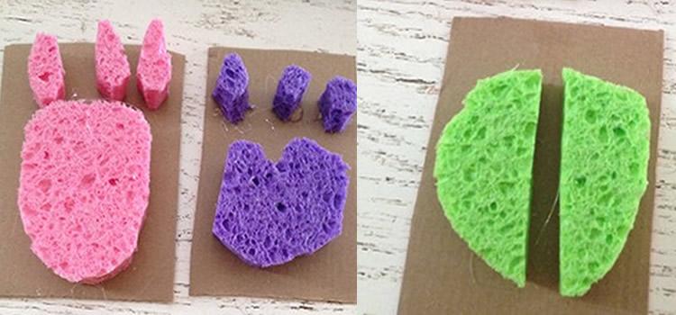 jocs fets amb esponges de colors