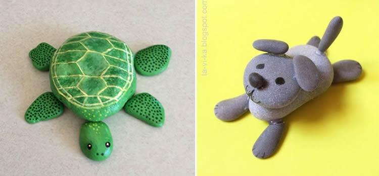 Joc d'animals pintats en pedres