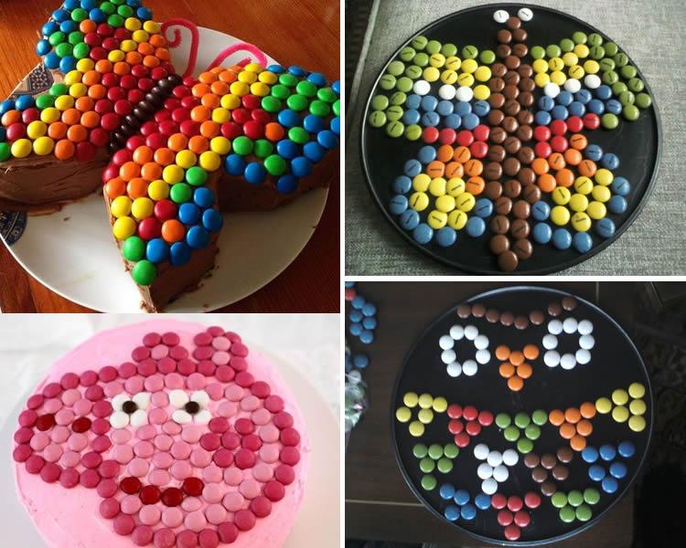 com decorar un pastís amb lacasitos o M&M de xocolata