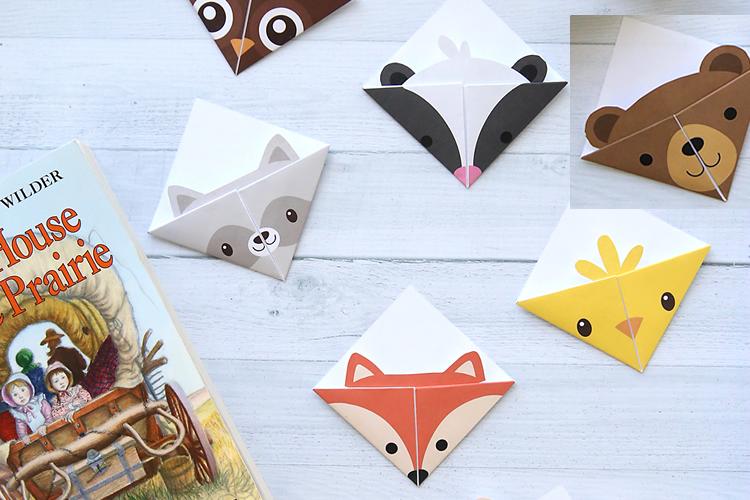punts de llibre d'origami d'animals del bosc