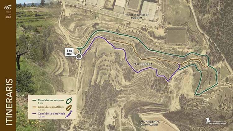 mapa itineraris Parc de secà de Manresa