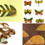 animals fets amb fulles de tardor