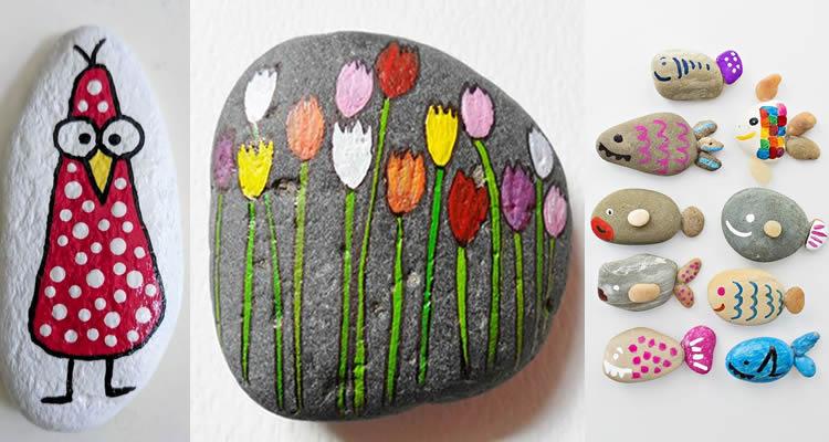 pedres decorades, activitat artística per a nens