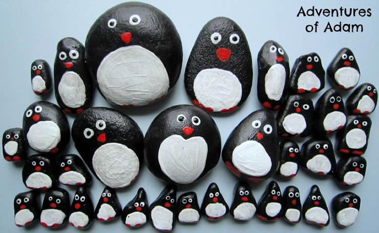 pingüins pedres pintades en blanc i negre