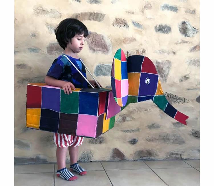 caixes de cartró per a disfresses elefant