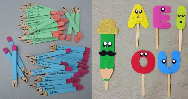punts de llibre amb pals de gelat lletres