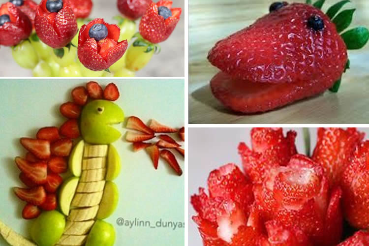 Dracs i roses amb fruites naturals
