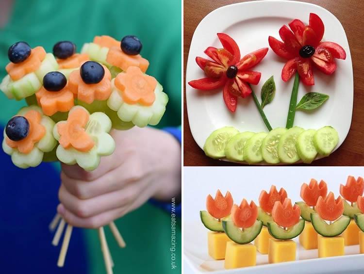 Dracs i roses amb fruites naturals vegetals