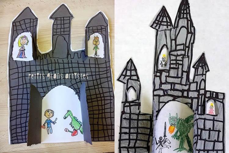 castells de Sant Jordi per fer amb nens cartolina
