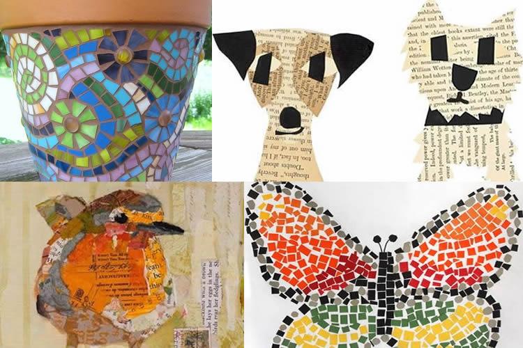 collage i mosaics per fer amb nens