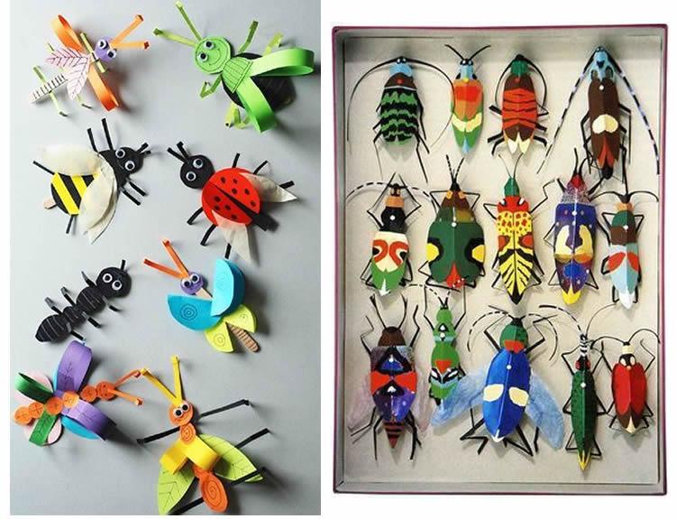 fem una col·lecció d'insectes inventats en caixes