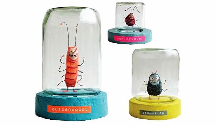 fem una col·lecció d'insectes inventats en un pot