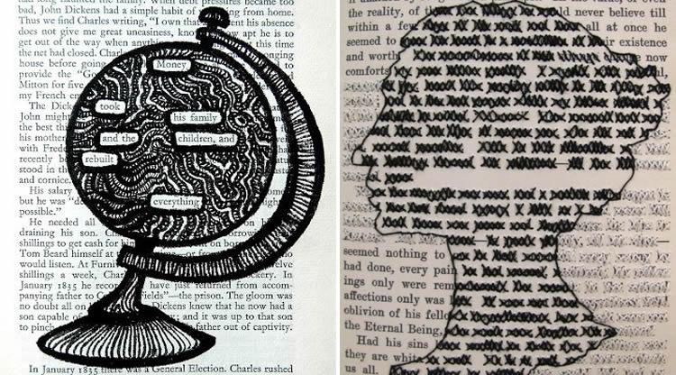 creativitat ratllant paper de diari dibuixant