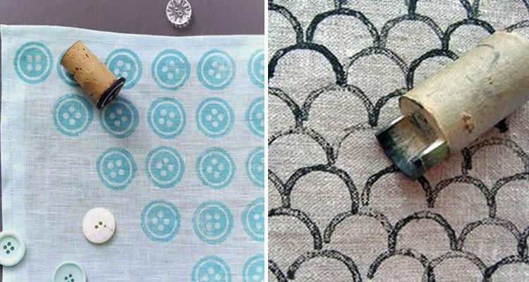 segells d'estampació amb diferents materials per teixits