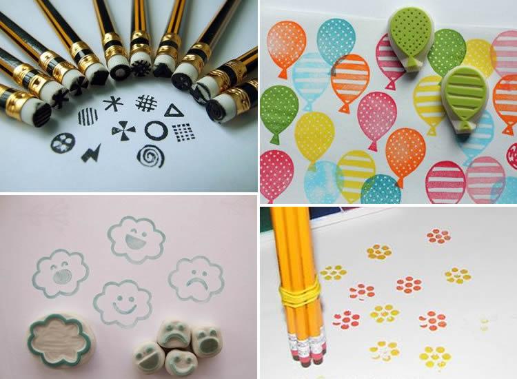 segells d'estampació amb diferents materials gomes