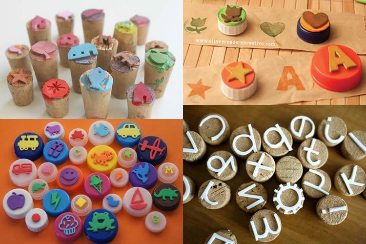 segells d'estampació amb diferents materials taps