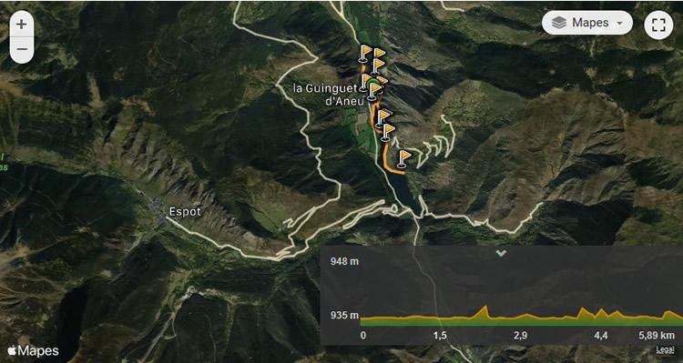 Mollera d'Escalarre - itinerari adaptat mapa