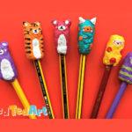 Taps de pasta de paper per decorar un llapis
