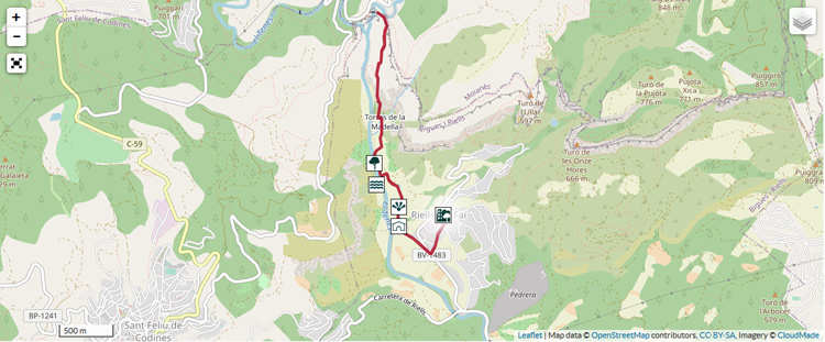ruta fins Sant Miquel del Fai mapa