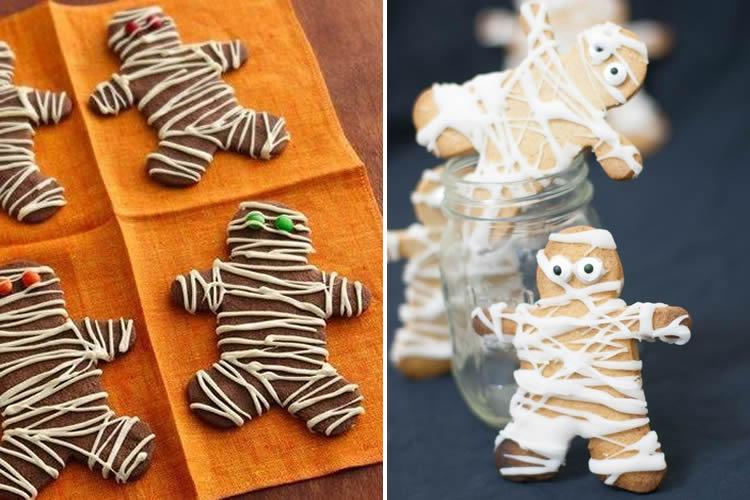 Galetes de gingebre de Halloween momies