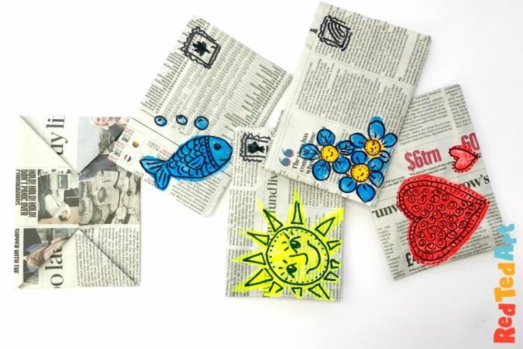 Sobres d'origami amb paper de diari