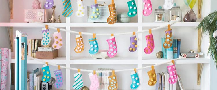 7 Calendaris d'Advent per fer a casa mitjons feltre